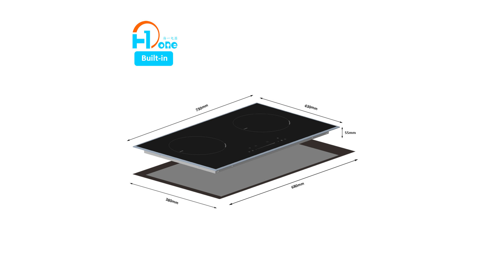 Chinese Original Design Manufacturer Shenzhen H-one Half Bridge Induction Technology Built-in Two Burner Induction Cooktop 8126-202