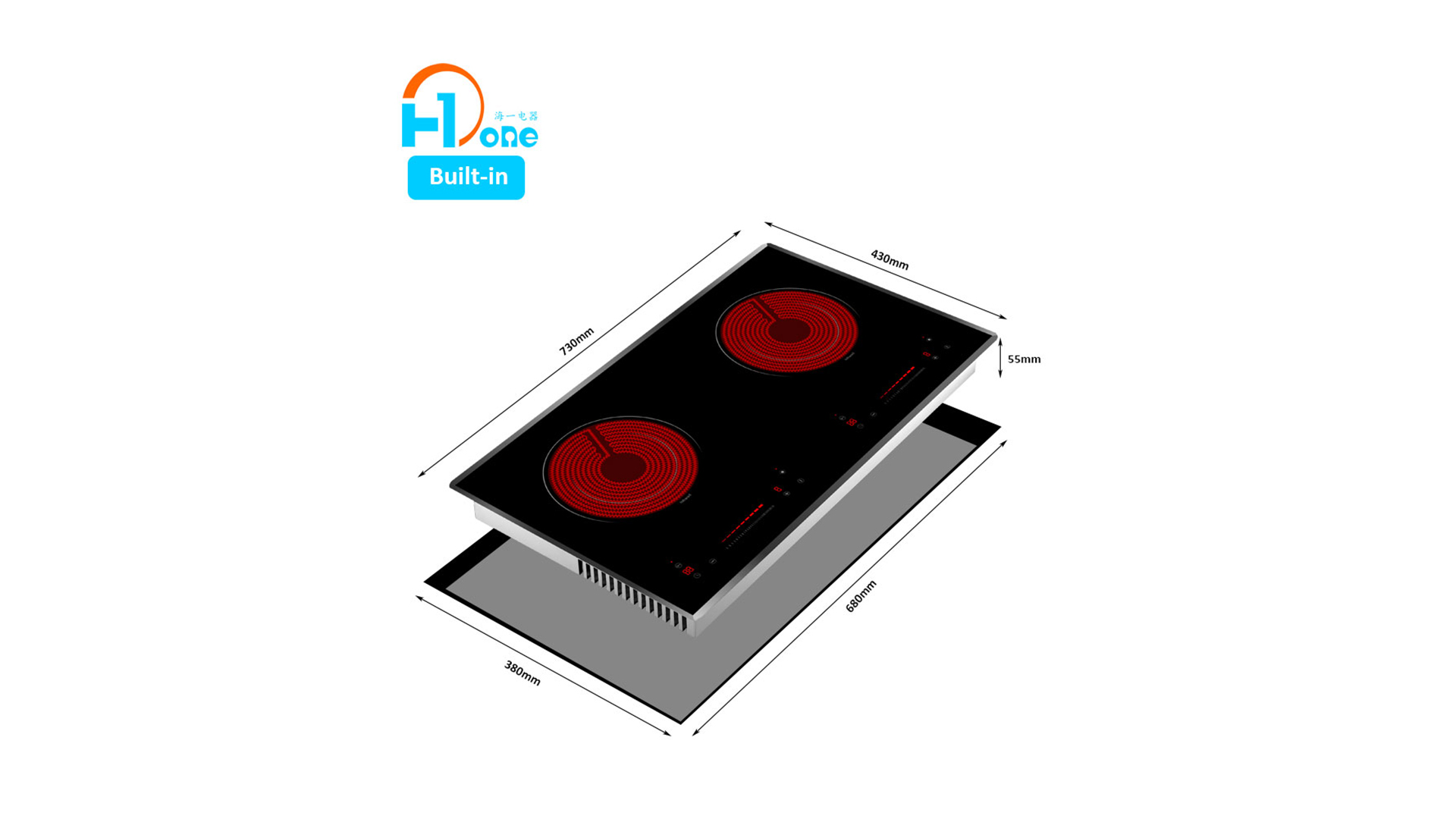 Produsen Desain Asli Cina Shenzhen H-One Built-in Two Burner Horizontal Keramik Hob 8325-201
